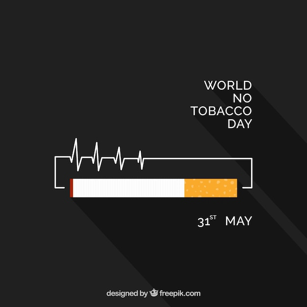 Background in flat design with cigarette Free Vector