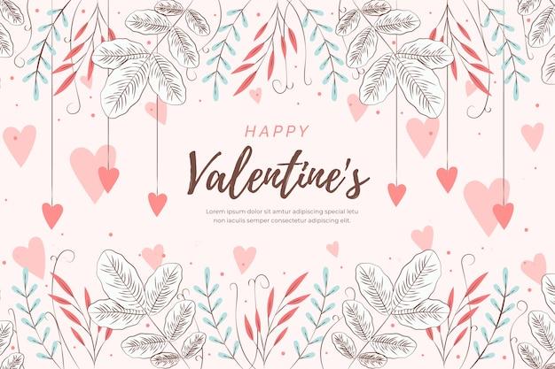 Background flat valentine's day Free Vector