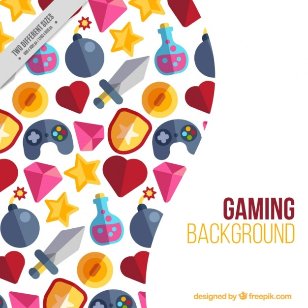 Background of flat videogame elements Free Vector