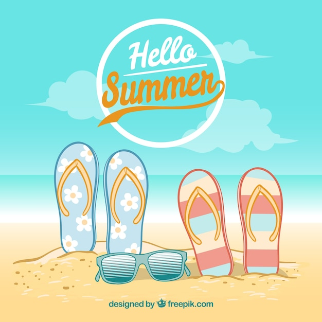 06f0dc61b Background of flip-flops and sunglasses on the beach Free Vector