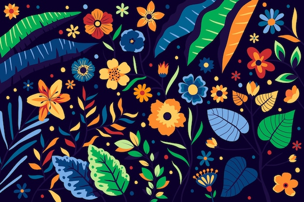 Background floral pattern with bright colourful flowers Free Vector