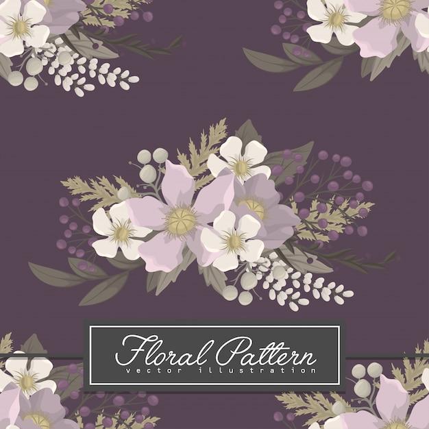 Modello senza cuciture dei fiori porpora del fiore del fondo Vettore gratuito