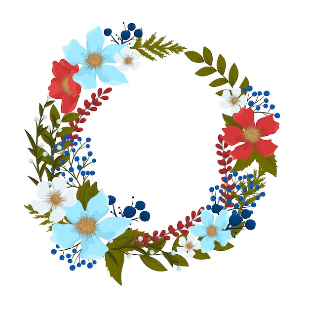 Background flower - red, light blue, white flowers wreath Free Vector