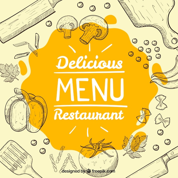 Background of food sketches and kitchen objects Free Vector