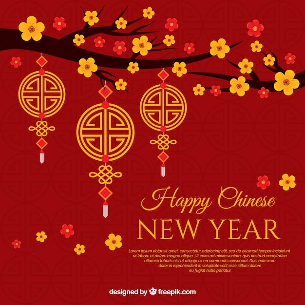 background for chinese new year with flowers free vector