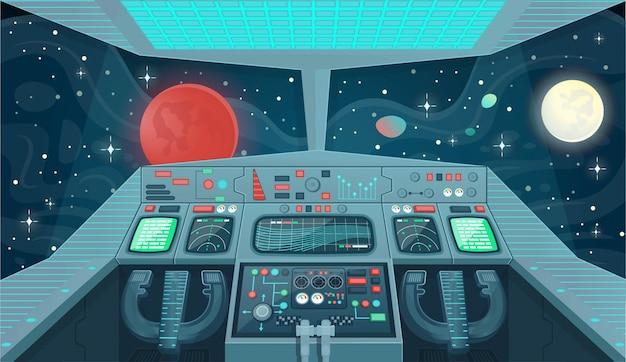 ゲームやモバイルアプリケーションの宇宙船の背景。宇宙船内部、コックピットビュー。漫画イラスト。 Premiumベクター