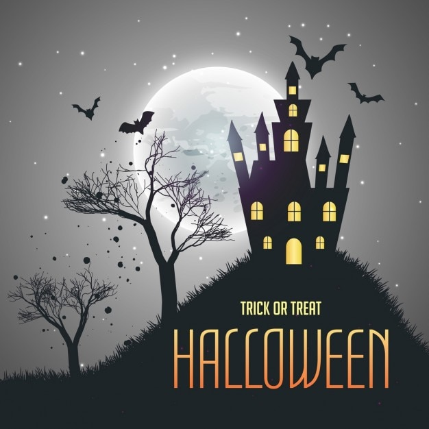 Background for halloween with a haunted house Free Vector