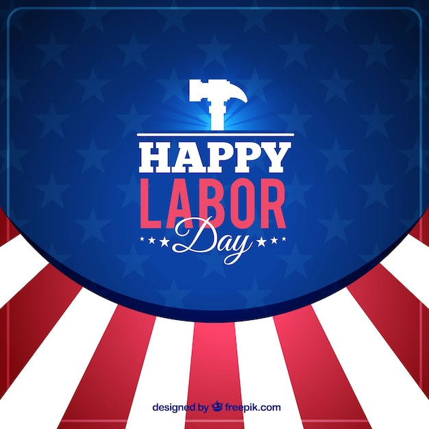 Background for labor day with american colors and hammer