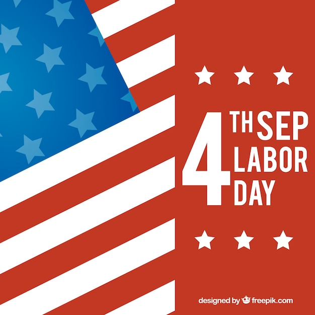 Background for labor day with flag and date