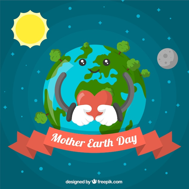 Background for mother earth day in flat design Free Vector