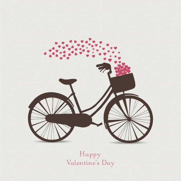 Background for valentine with a bicycle Free Vector