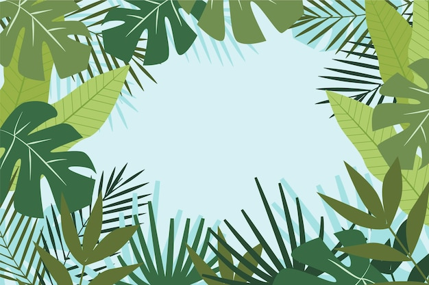 Фон для увеличения с тропическими листьями Premium векторы