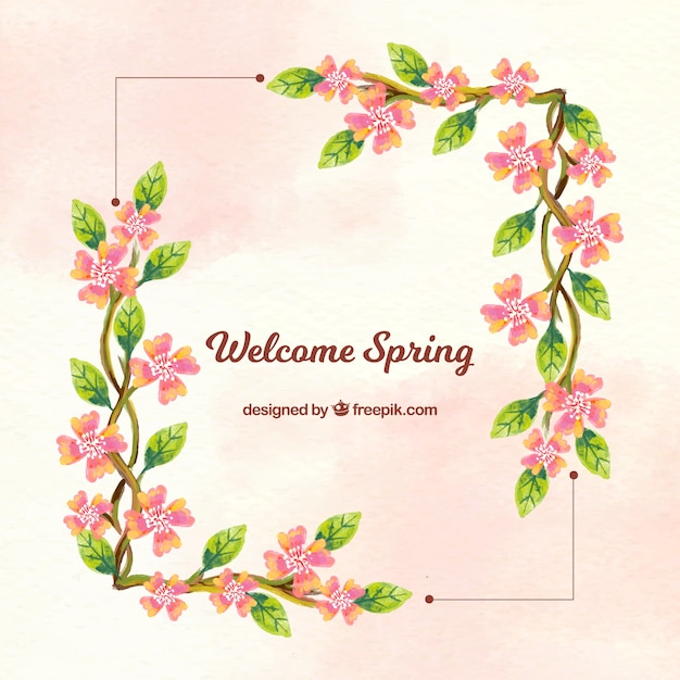 background frame with floral watercolor details vector