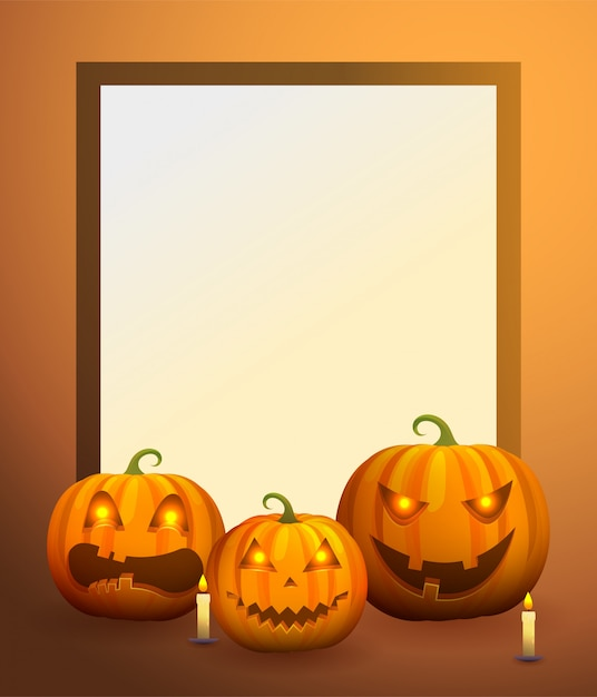 Background frame with pumpkin lanterns and candles Premium Vector