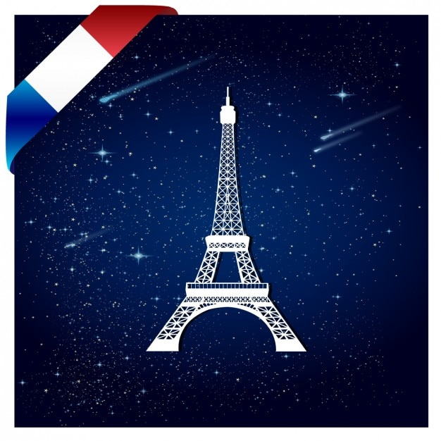 Background of france with eiffel tower Free Vector