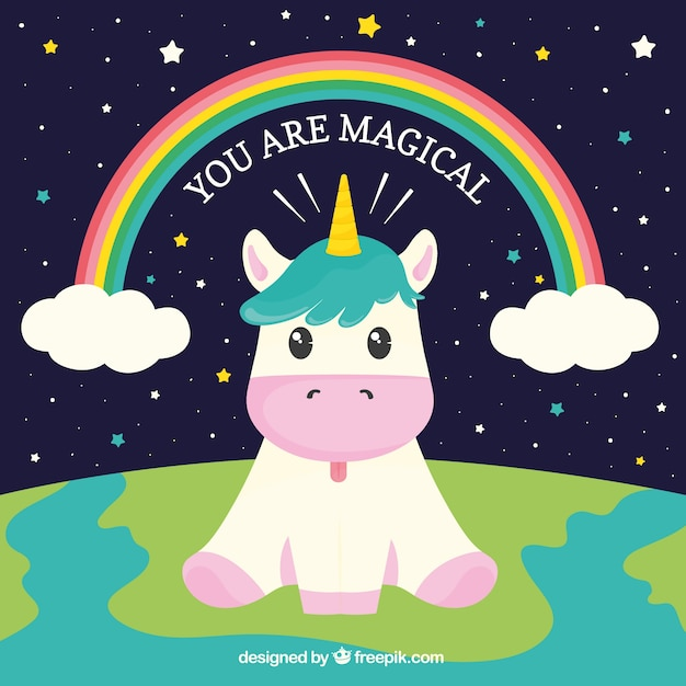 Background of funny unicorn sitting in the world Premium Vector