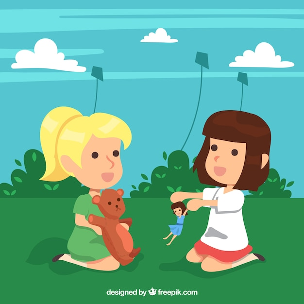Background of girls playing with their toys outdoors Free Vector
