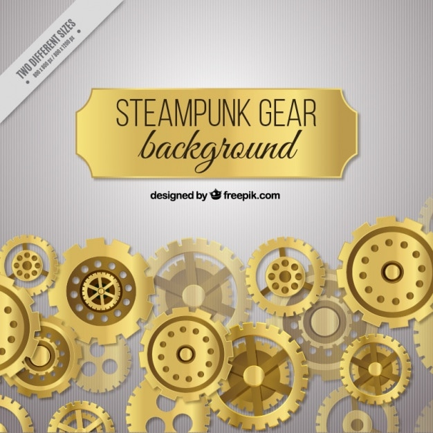Background of golden gears Free Vector