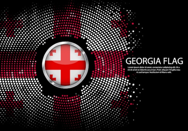 Background Halftone Gradient Template Of Georgia Flag Vector