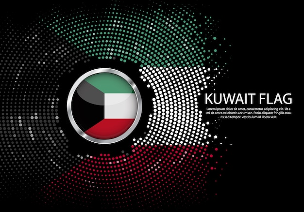 Background halftone gradient template of kuwait flag. Premium Vector