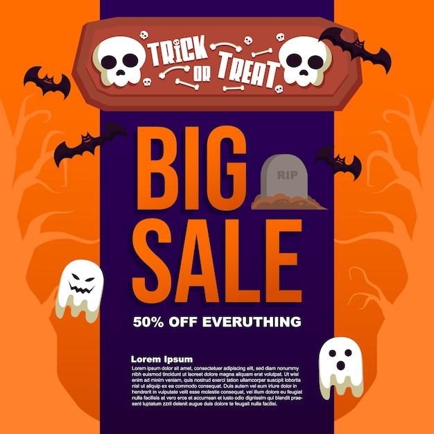 Background halloween sale trick or treat big sale template banner post Premium Vector