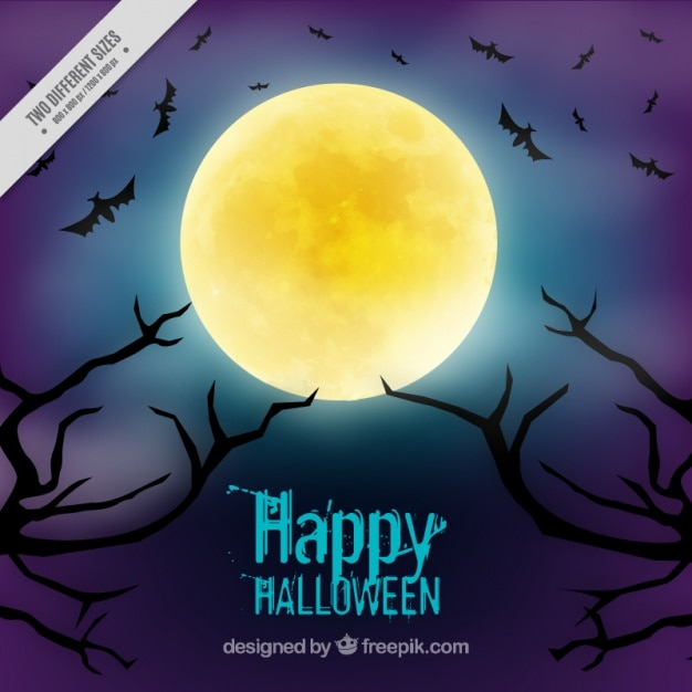 Background for halloween with a full moon Free Vector