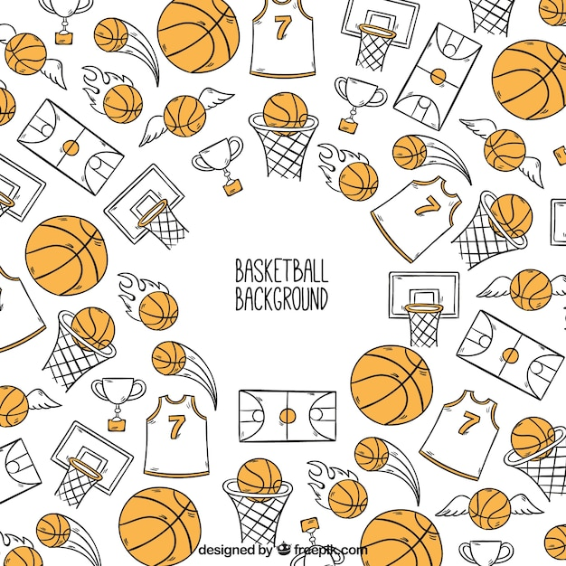 Background of hand-drawn basketball accessories Free Vector
