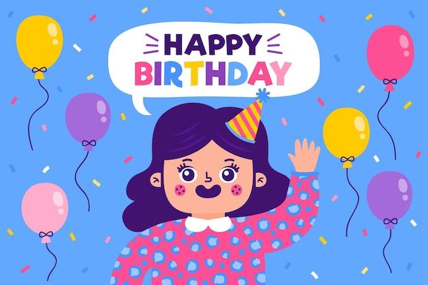 Sfondo di festa di compleanno disegnata a mano con palloncini Vettore gratuito
