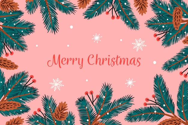 Background hand-drawn christmas tree branches Free Vector