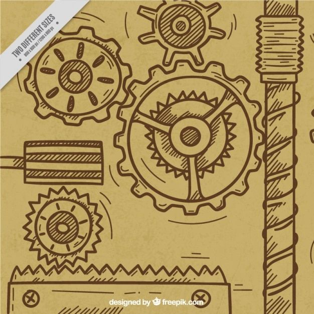 Background of hand drawn gears Free Vector