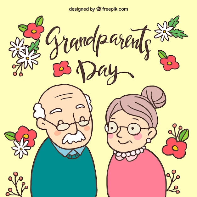 Background of hand drawn grandparents and flowers Free Vector