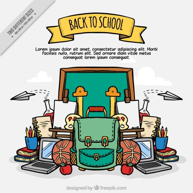Background of hand-drawn school accessories Free Vector