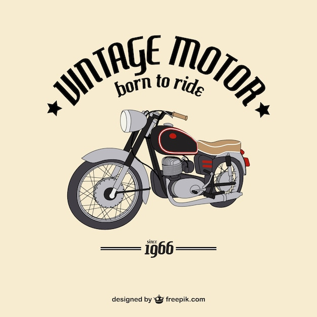 Background of hand-drawn vintage motorcycle Free Vector