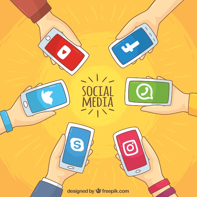 Background of hands holding mobile phones with social networks Free Vector