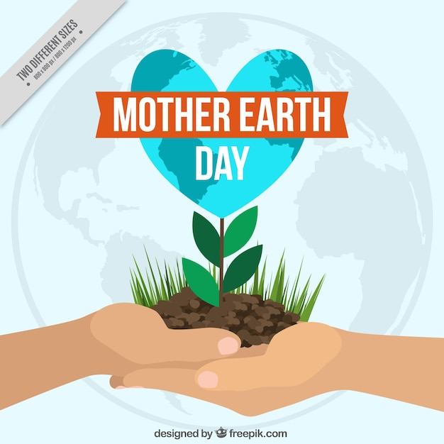 Background of hands with a plant for mother earth day Free Vector