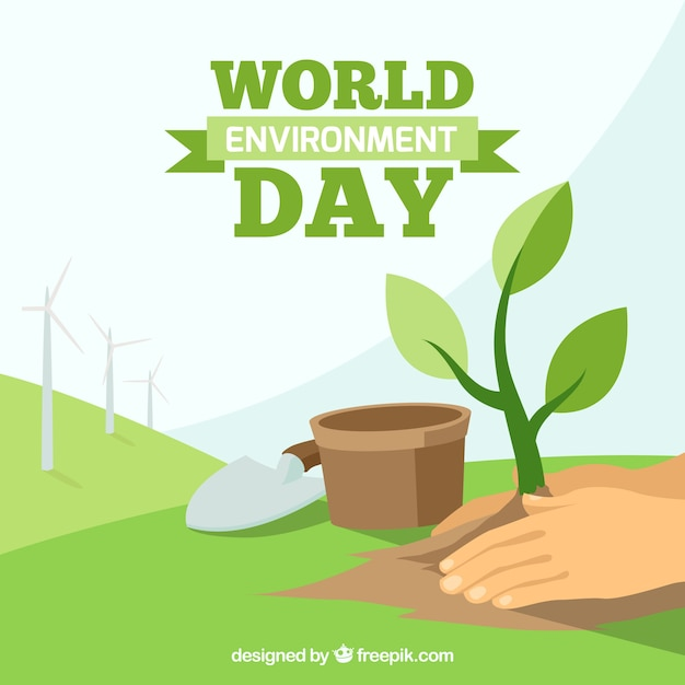 Background of hands with plant for world environment day Free Vector