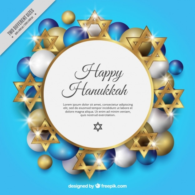 Background for hanukkah with golden stars and balls Free Vector