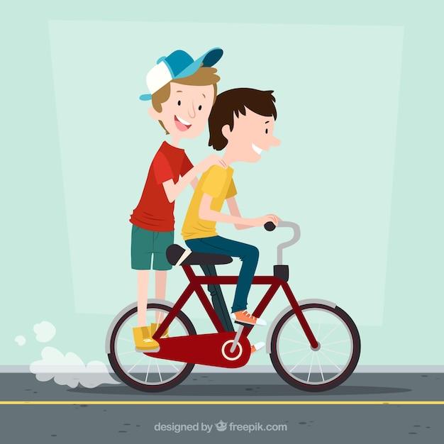 Background of happy children on bike Free Vector