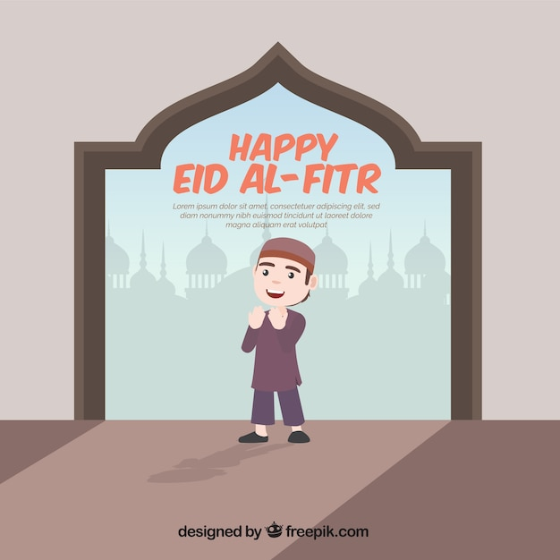 Background of happy eid al-fitr Free Vector