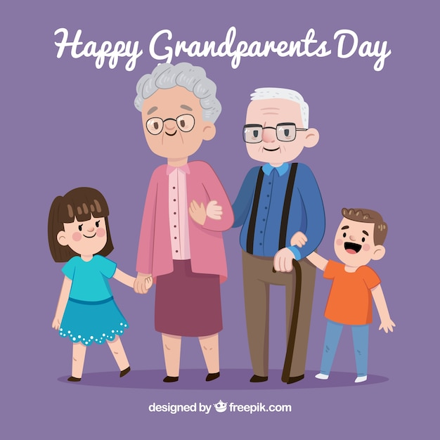 Background of happy grandparents with their grandchildren Free Vector