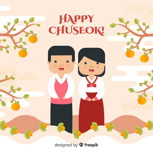 Background of happy korean chuseok Free Vector