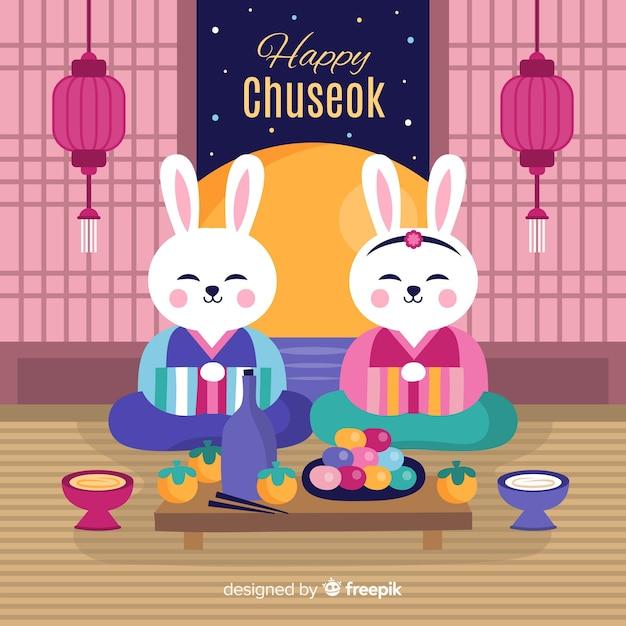 Background of happy korean chuseok Free Vector