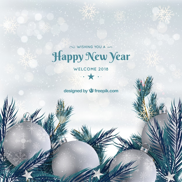 Background happy new year with silver baubles Free Vector