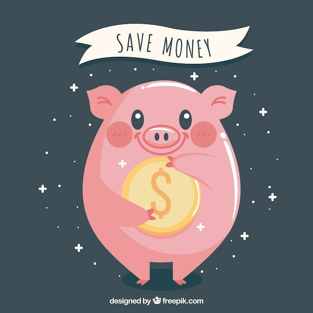 Background of happy piggy bank with a coin Free Vector