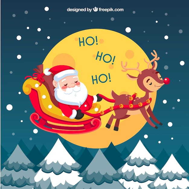 Background of happy santa claus with reindeer Free Vector