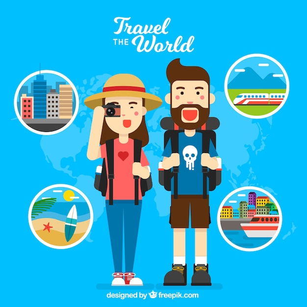 Background of happy travelers around the world Free Vector