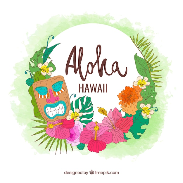 Background of hawaii elements Free Vector