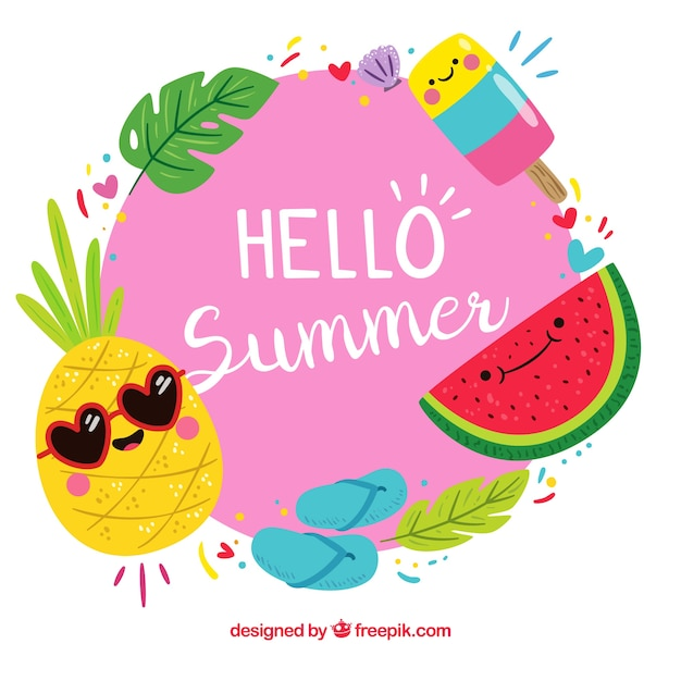Background of hello summer with funny fruits Free Vector