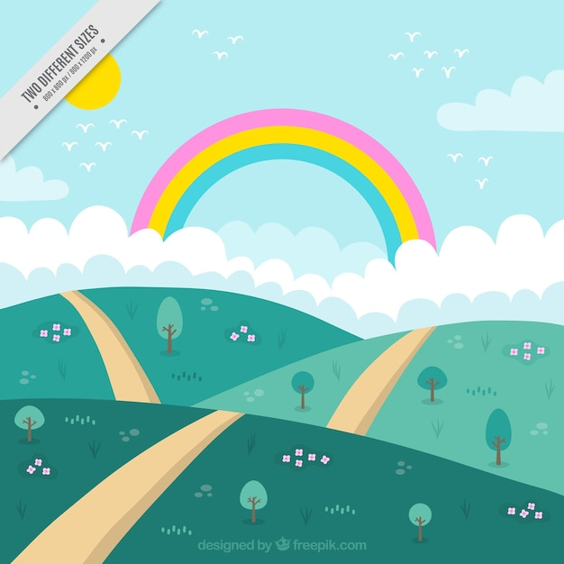 Background of hills with path and rainbow Free Vector