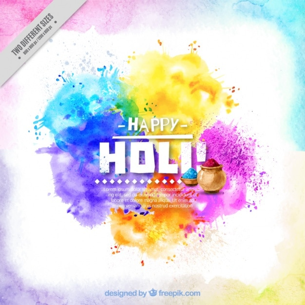 Background holi colorful watercolor abstract Free Vector